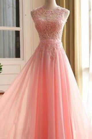 Charming Long Appliques Pink Sleeveless A-Line Scoop Elegant Prom Dresses WK782