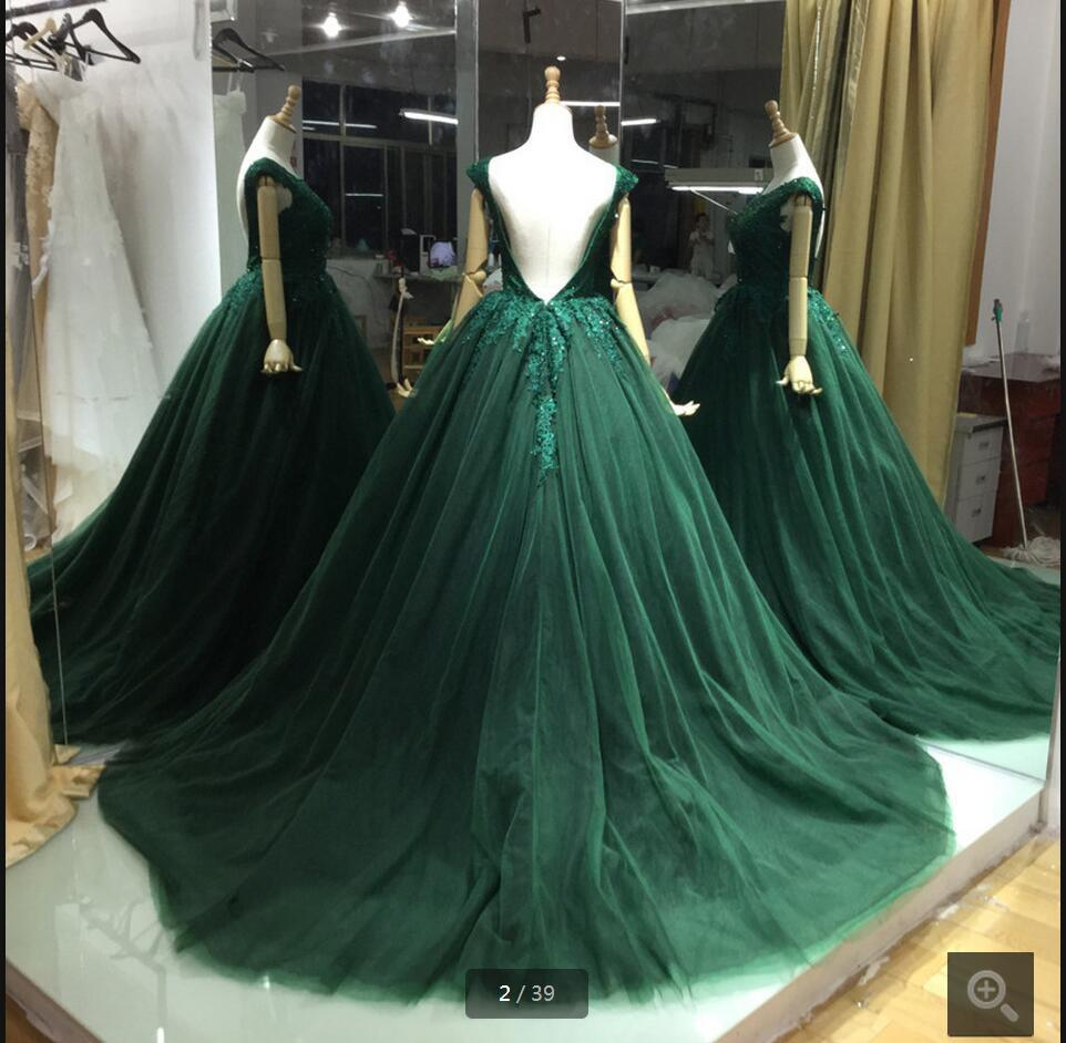A-line Green Lace Appliques Ball Gown V-back Evening Dresses Prom Dresses WK737