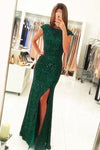 Dark Green Open Back Long Prom Dresses Sequins Split Bridesmaid Dress WK002