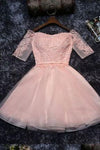 Cute Lace Tulle A-line Off the Should Half Sleeves Short Homecoming Dresses WK134