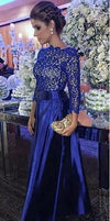 Elegant A Line Round Neck Open Back Long Sleeves Royal Blue Lace Long Prom Dresses WK135