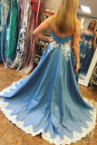 Blue Lace High Low Sweetheart A Line Appliques Long Strapless Cheap Prom Dresses WK34
