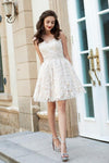 A-Line Princess Sweetheart Sleeveless Rhinestone Short Mini Lace Homecoming Dresses WK574