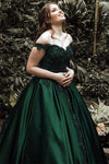 A-Line Ball Gown Off the Shoulder Green Sleeveless Sweetheart Lace Satin Prom Dresses WK555