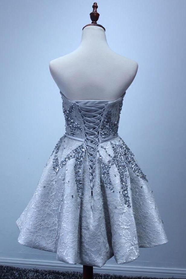 A Line Silver Strapless Mini Lace Shinny Sequin Lace up Appliques Homecoming Dresses WK828