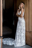 Princess A-Line Spaghetti Straps Sleeveless Ivory Backless Lace Appliques Wedding Dresses WK274