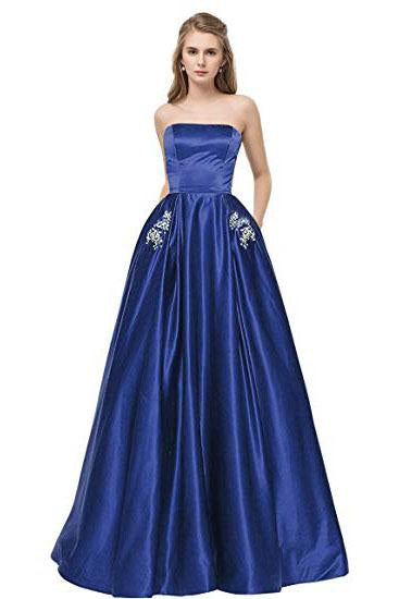 Royal Blue Strapless Bridesmaid Dress with Pockets A Line Satin Prom Dress with Beads WK874