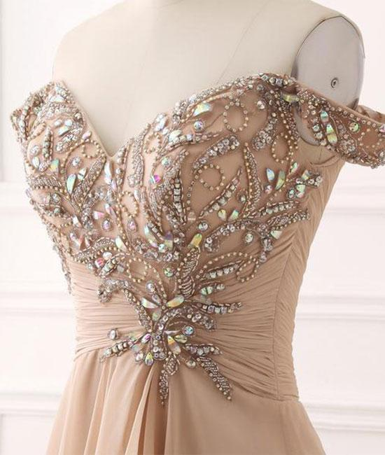 A Line Chiffon Sweetheart Off the Shoulder Beads Open Back Cheap Prom Dresses WK148