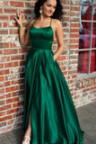 A-Line Halter Backless Blue Sleeveless Criss Cross Beteau Sleeveless Satin Prom Dresses with Split WK402
