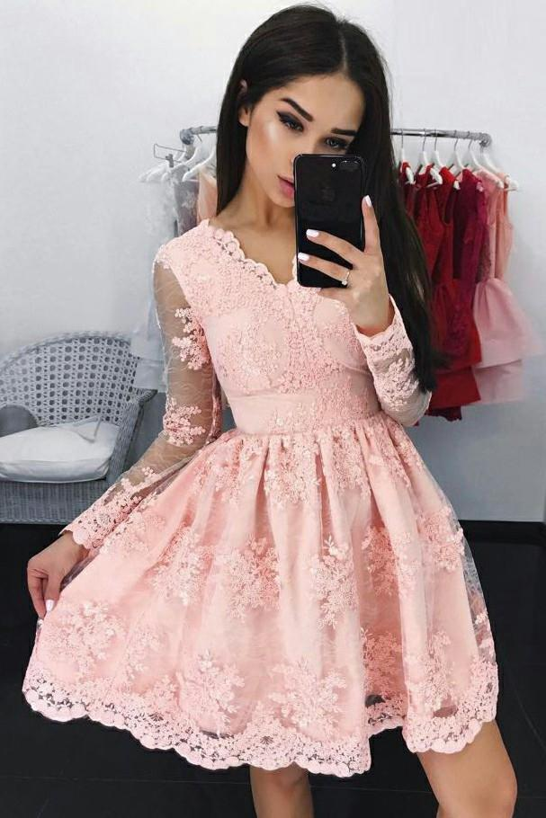 Cute A Line Long Sleeves V Neck Pink Lace Appliques Above Knee Homecoming Dresses WK795