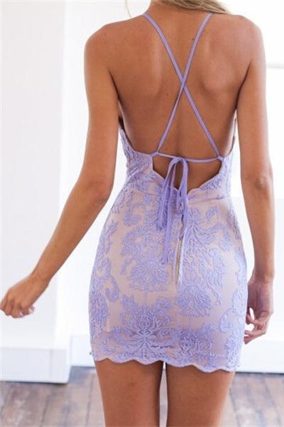 Sexy Sheath Lace Appliques Purple Criss Cross Scoop Above Knee Homecoming Dresses WK956