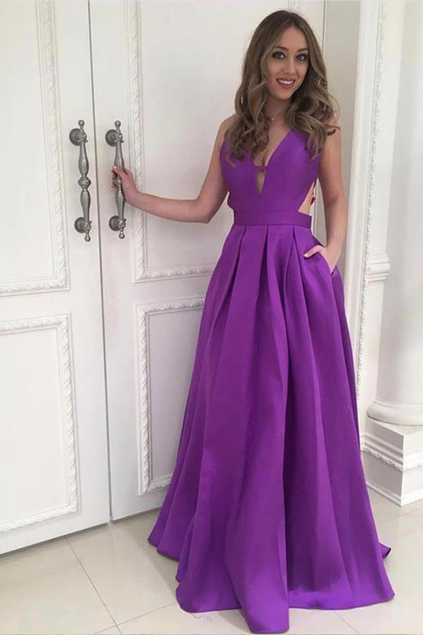 A Line Satin Floor Length Cheap V Neck Open Back with Pockets Long Prom Dresses WK60
