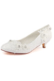 Lace White Lower Heel Evening Shoes Wedding Shoes uk L-922