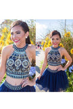 Cute Two Pieces Halter Royal Blue Tulle Beading Homecoming Dresses