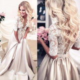 A-Line High Neck Beads Short Sleeve Lace Satin Evening Dress Prom Dresses WK513