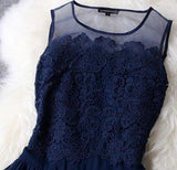A-line Princess Mini Blue Scoop Sweet Sleeveless Crew Homecoming Dresses with Lace WK962