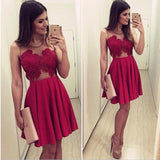 Cute Tight Fuchsia A Line Scoop Short Mini Chiffon Sleeveless Homecoming Dresses WK963