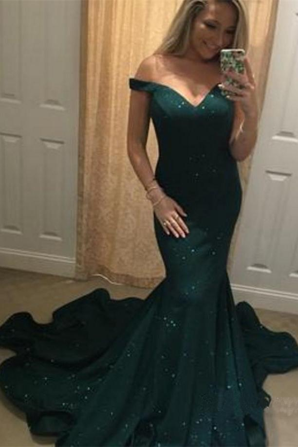 2020 Charming Off-the-Shoulder Green Mermaid Sweetheart Beads Prom Dresses WK382