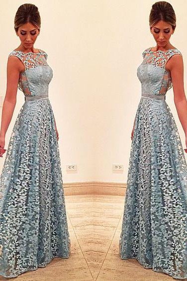 Elegant A Line Lace Appliques Long Blue Open Back Prom Dresses Homecoming Dresses WK919