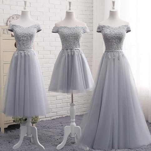 Cute A line Gray Lace Off Shoulder Lace-up Prom Dress with Appliques Graduation Dresses WK105