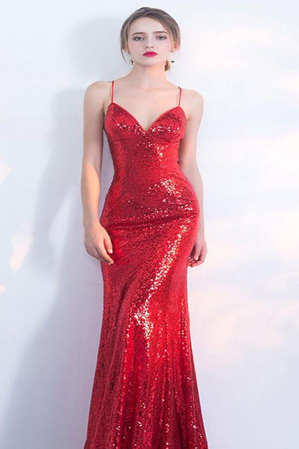 V-Neck Red Mermaid Spaghetti Straps Sparkly Backless Sleeveless Sequins Evening Dresses WK242