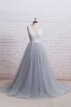 A-Line V-Neck Ivory Lace Bodice Grey Tulle Skirt Chapel Train Appliques Wedding Dress WK287