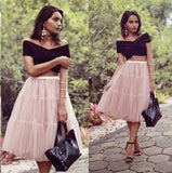 A Line Two Pieces Black and Pink Cheap Off the Shoulder Tulle Homecoming Dresses WK879
