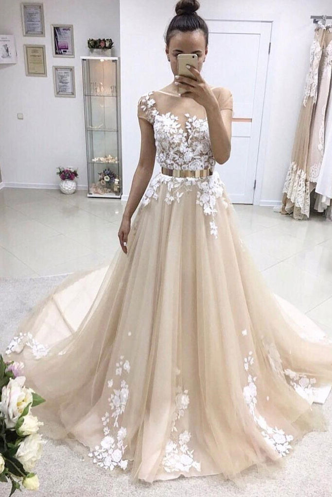 A-line Tulle Scoop White Lace Appliqued Gold Sash Short Sleeves Chapel Train Prom Dresses WK154
