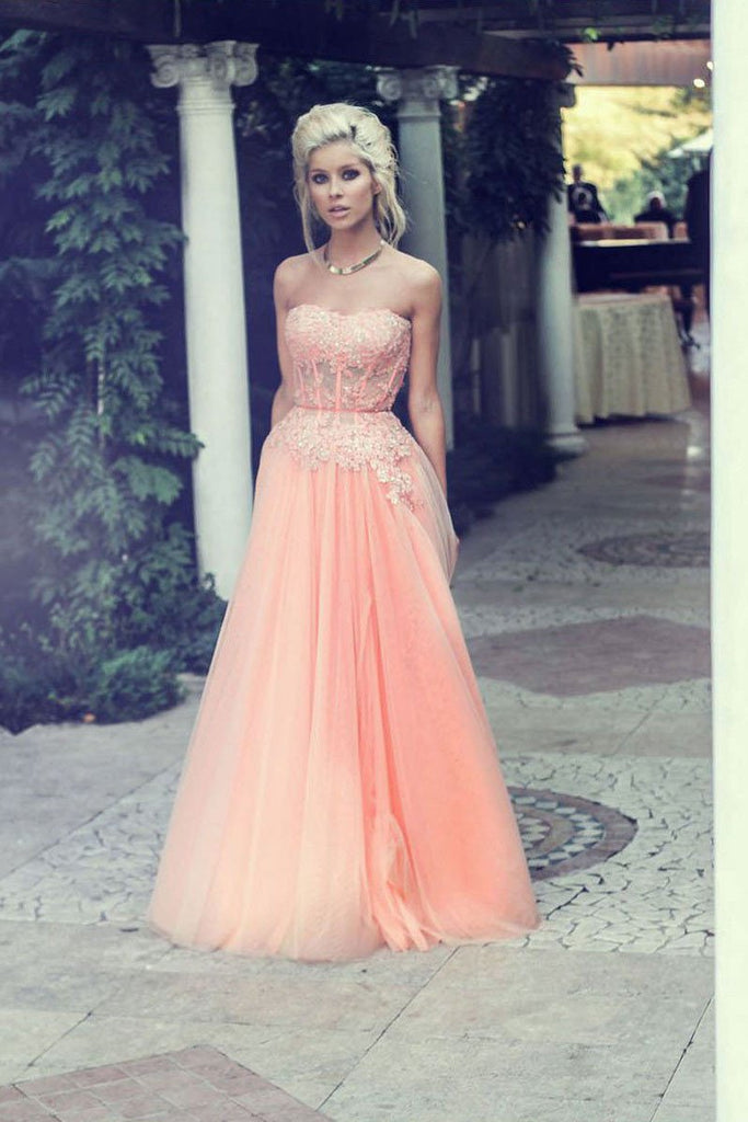 A-Line Strapless Lace Appliqued Floor-length Blush Pink Beaded Tulle Prom Dresses WK313