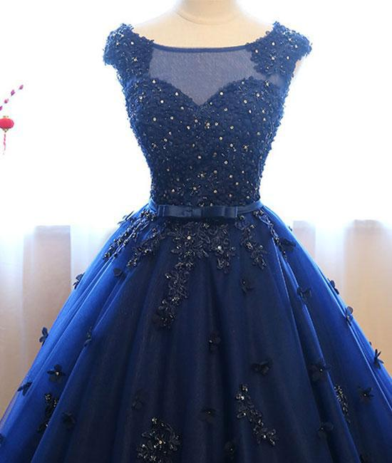 Dark Blue Tulle Lace Beads Ball Gown Open Back Sweet 16 Dress Quinceanera Dresses WK808