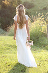 Beach A-Line Cap Sleeves Backless Lace Summer Scoop Open Back Ivory Wedding Dress WK700