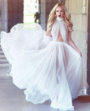 2020 A-line Cheap Long Sexy Simple Ivory High Neck Sleeveless Tulle Prom Dresses WK301