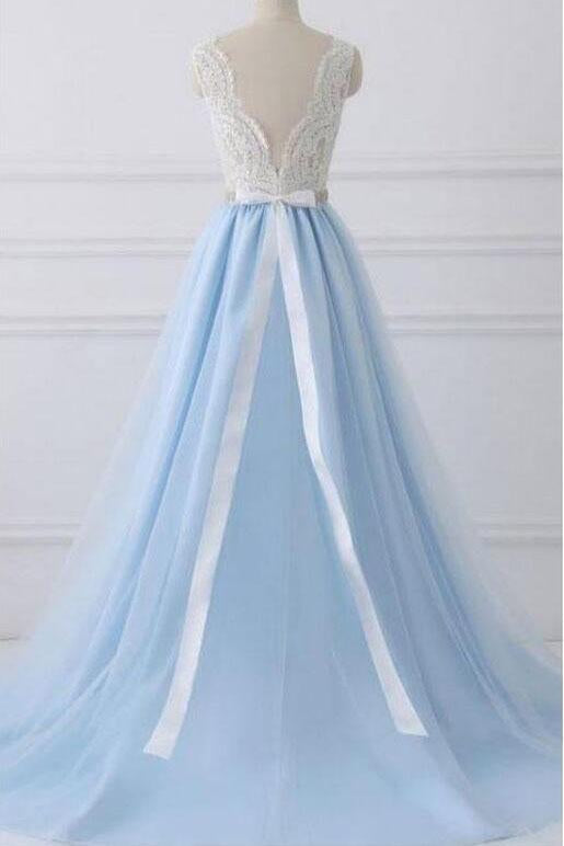 A-Line Lace Open Back V-Neck with Sash Blue and White Cap Sleeve Prom Dresses WK432