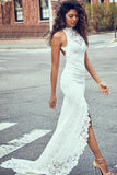 Sheath White Mermaid Round Neck Sweep Train Open Back Lace Wedding Dress with Split WK26