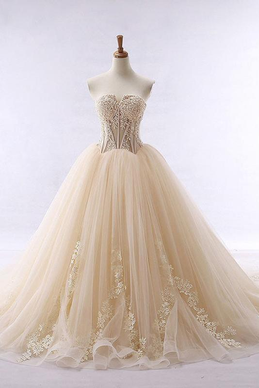 Chic Ball Gowns Strapless Sweetheart Tulle Lace up Modest Cheap Lace Long Prom Dresses WK326
