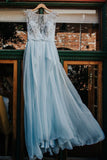 2020 Elegant Light Blue Beads Round Neck Chiffon A-Line Cap Sleeve Prom Dresses WK397