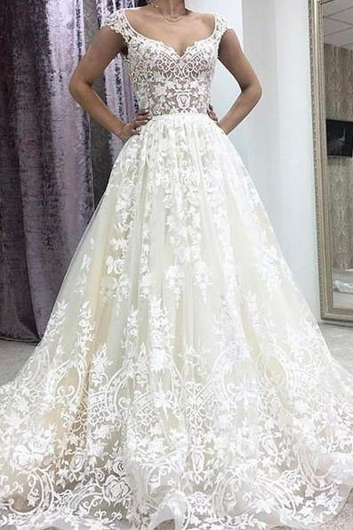 A-Line Deep V-neck Court Train Sleeveless Ivory Lace Wedding Dress with Appliques WK282