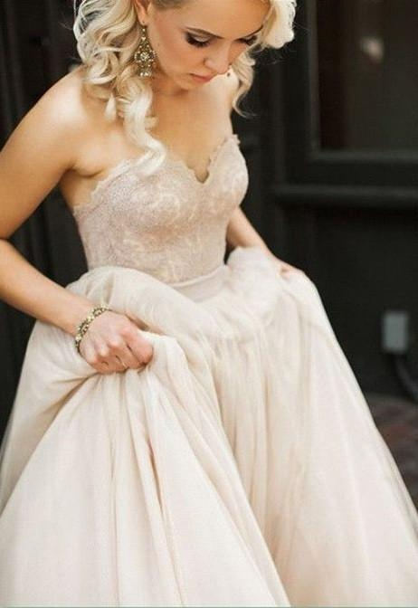 Blush Pink Princess Sweetheart Wedding Dress with Lace Tulle Brides Dress WK100