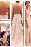Backless Spaghetti Straps V-Neck Pink Open Back Chiffon Evening Gowns WK508