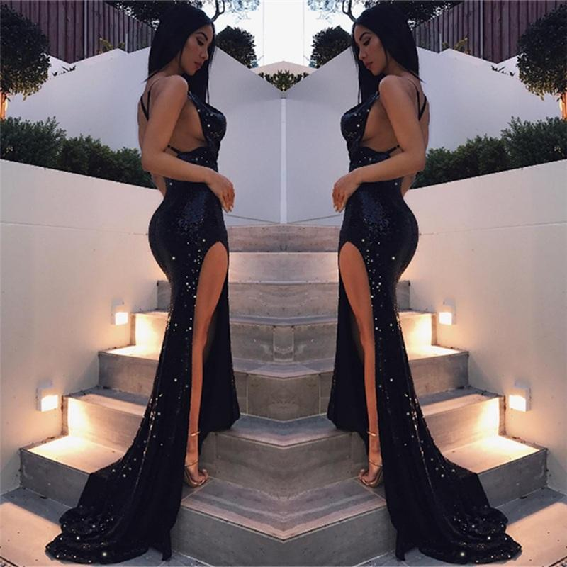 Black Criss-cross Sexy Split Latest Shiny Floor-length Mermaid Sleeveless Prom Dresses WK299