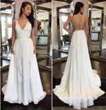 2020 Simple Cheap Sexy Ivory A-line Chiffon V-Neck Sleeveless Ruffles Backless Wedding Dress WK864