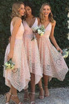 A-Line V-Neck Spaghetti Straps Asymmetrical Pink Lace Bridesmaid Dress WK93