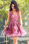 A-Line V-Neck Sleeveless Short Grape Tulle Short Cute Homecoming Dress with Appliques WK231