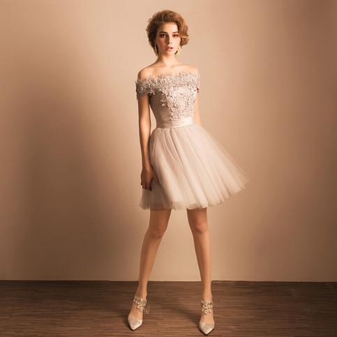 2020 Off-the-Shoulder Lace Short Prom Dress Beading Tulle Cute Lace-up Homecoming Dress WK247