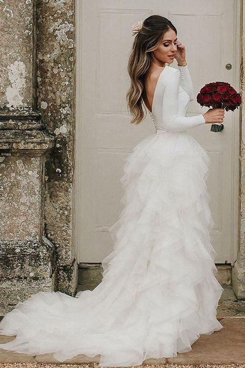 A-Line Round Neck Asymmetric Tulle Open Back Long Sleeves Wedding Dresses WK124