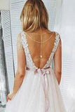 A Line Blush Pink Lace Sweetheart Backless Multi-Layered Organza Beach Wedding Gowns WK231
