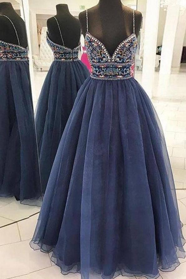 Beautiful A Line Spaghetti Straps V Neck Blue Tulle Rhinestone Long Prom Dresses WK32