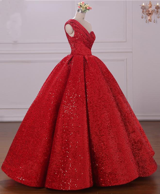Ball Gown One Shoulder Sequins Red Sweetheart Prom Dresses Quinceanera Dresses WK39