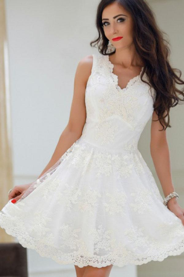 A-Line V-Neck White Tulle Short Prom Dresses Cute Lace Appliques Homecoming Dress WK719