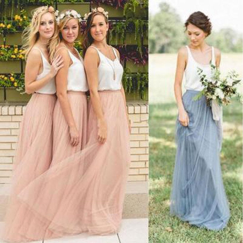 Cheap Junior Off Shoulder Scoop Neck White Blush Pink Tulle Long Bridesmaid Dresses WK612